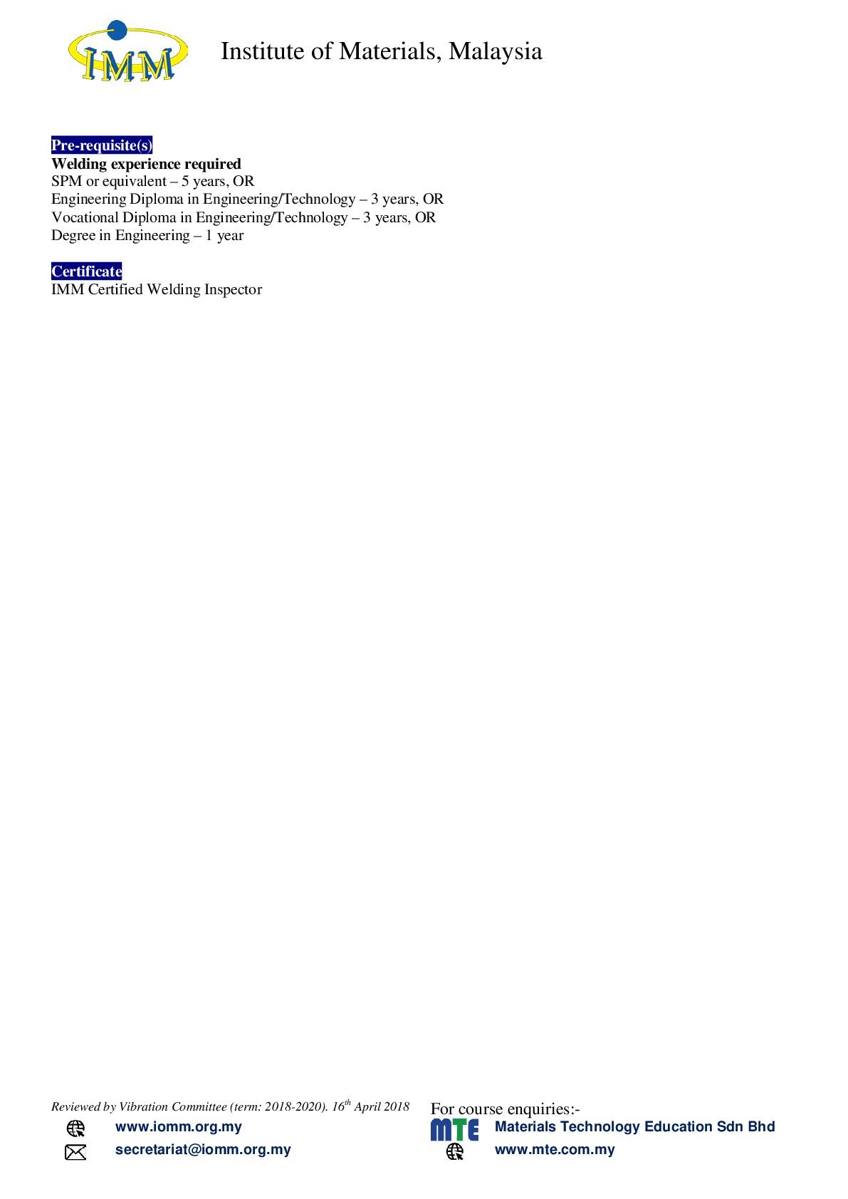 Certified Welding Inspector – IMM – Institute of Materials