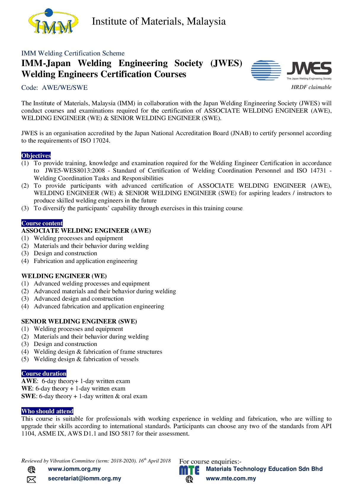 Associate Welding Engineer – IMM – Institute of Materials, Malaysia