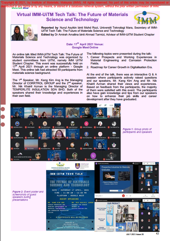 PAGE 42- ARTICLE Virtual IMM-UiTM Tech Talk The Future of Materials Science and Technology_